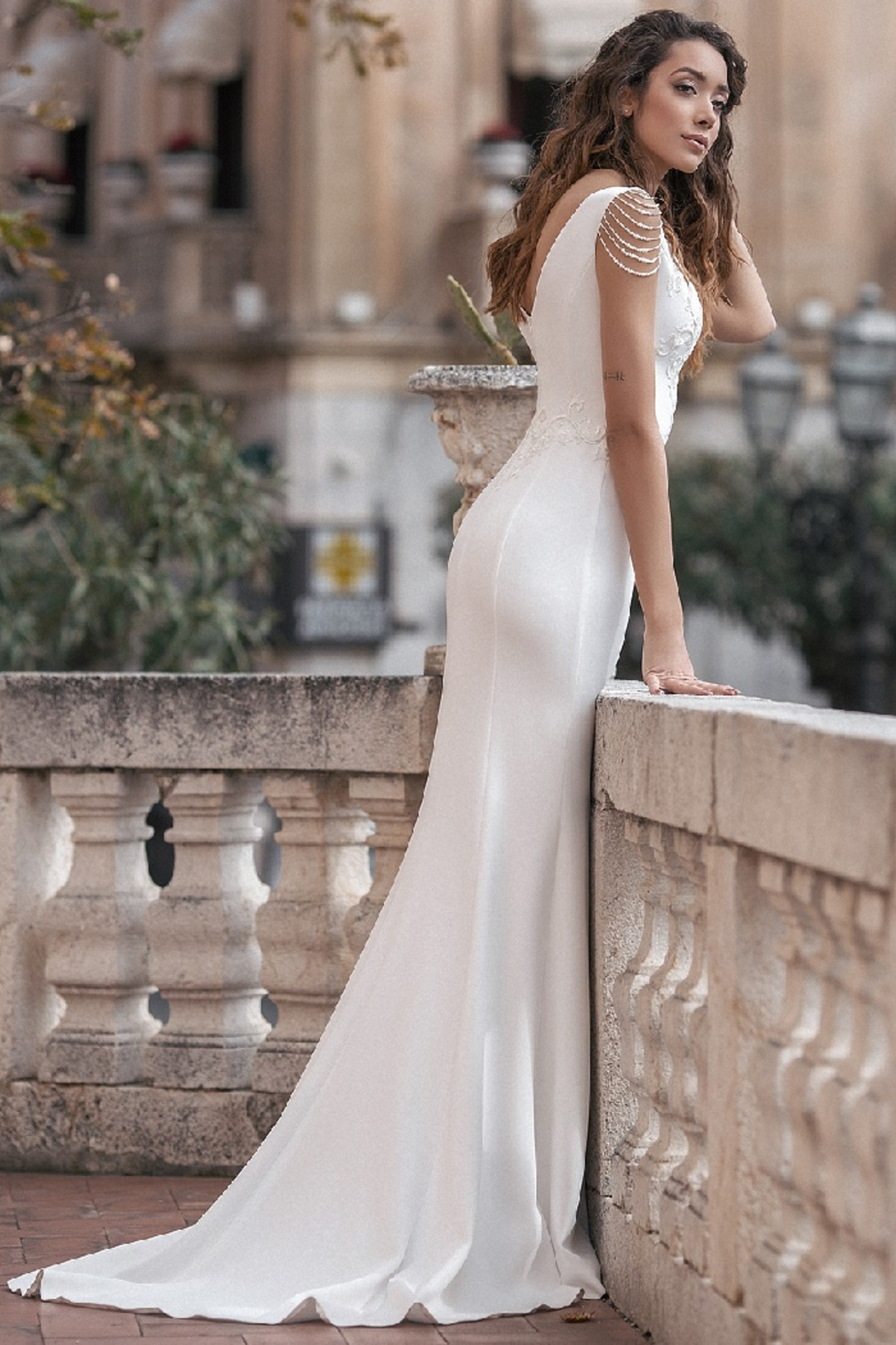 Rima Lav Ivory Pearl Off Shoulder Fit & Flare Bridal Gown - Front Full Image