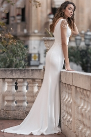 Rima Lav Ivory Pearl Off Shoulder Fit & Flare Bridal Gown - Front full body