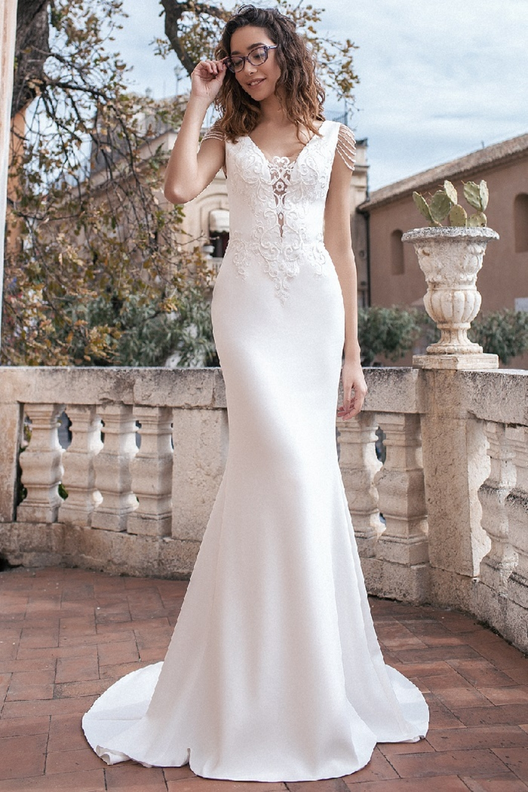 Rima Lav Ivory Pearl Off Shoulder Fit & Flare Bridal Gown - Main Image