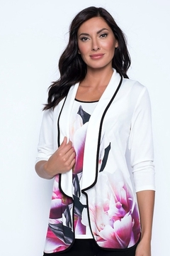 Frank Lyman  Ivory & Pink Knit Throwover Cover Up - Alternate List Image