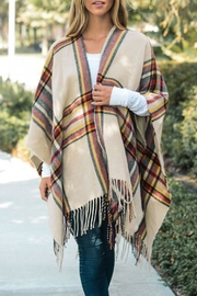 Wild Lilies Jewelry  Ivory Plaid Poncho - Product Mini Image