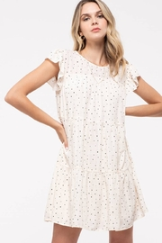 blu Pepper  Ivory Polka Dot Round Neck flutter Sleeve Tiered Mini Dress - Front cropped