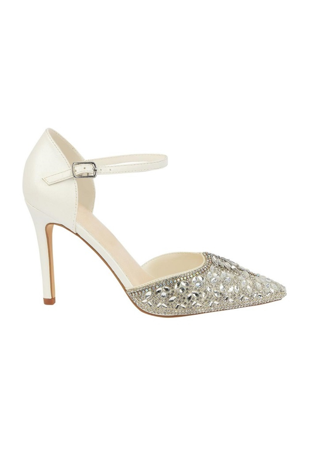 De Blossom Collection Ivory Rhinestone Bridal Heels - Front Full Image
