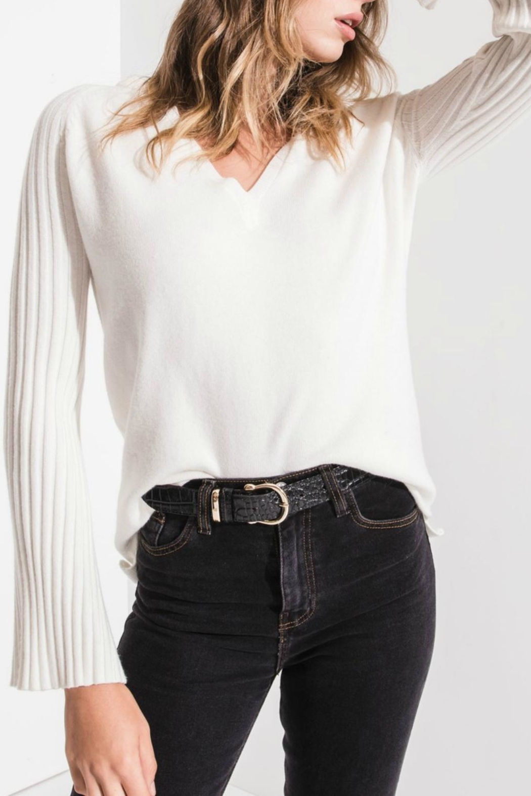 rag poets Ivory Ribbed Sweater - Main Image