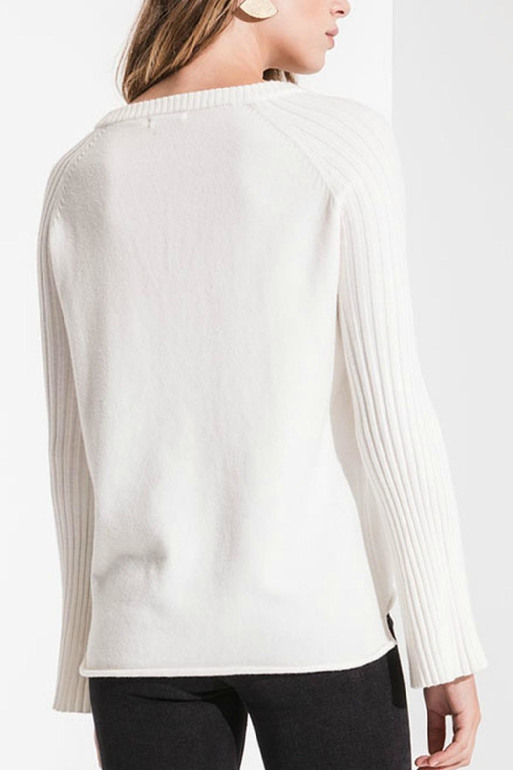 rag poets Ivory Ribbed Sweater - Front Full Image