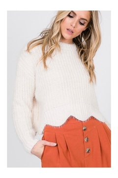 Shoptiques Product: Ivory Scallop-Trim Sweater