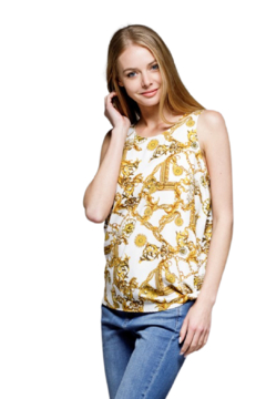 MTS Ivory Scarf Print Top - Product List Image
