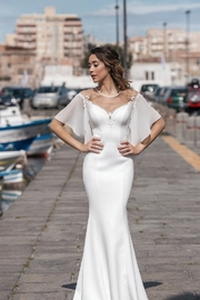Rima Lav Ivory Short Sleeve Fit & Flare Bridal Gown - Product Mini Image