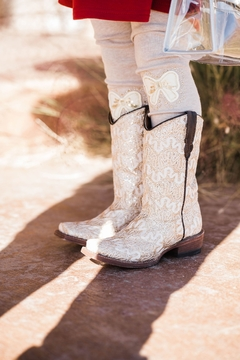 Shoptiques Product: Ivory Sparkled Cowgirl Boots