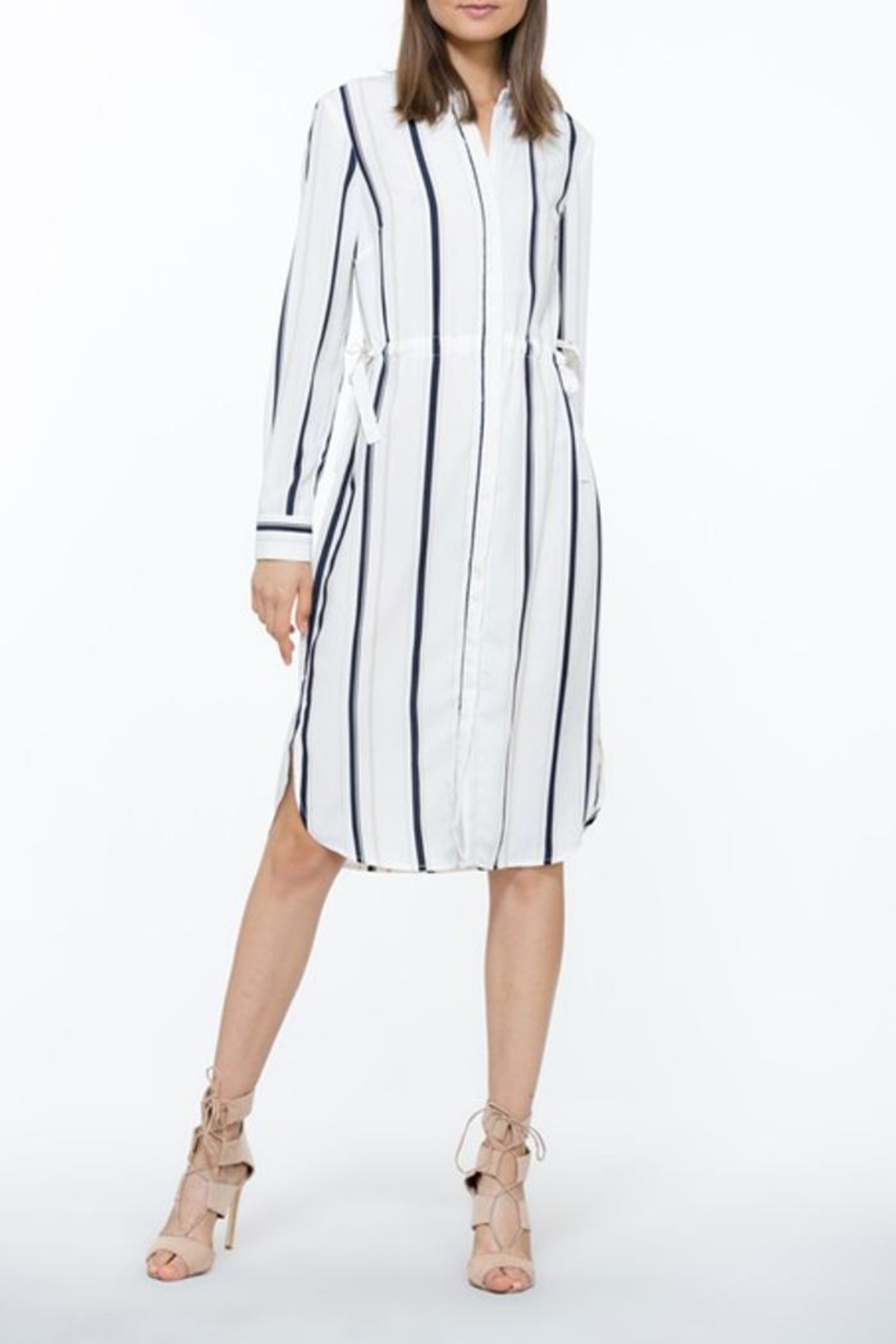 The Room Ivory Stripe Dress - Front Cropped Image