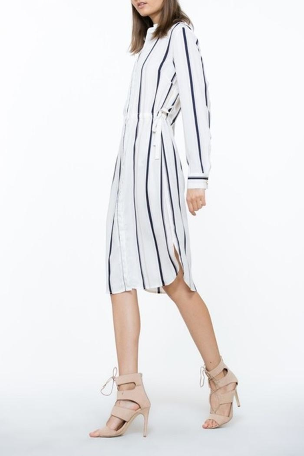 The Room Ivory Stripe Dress - Side Cropped Image