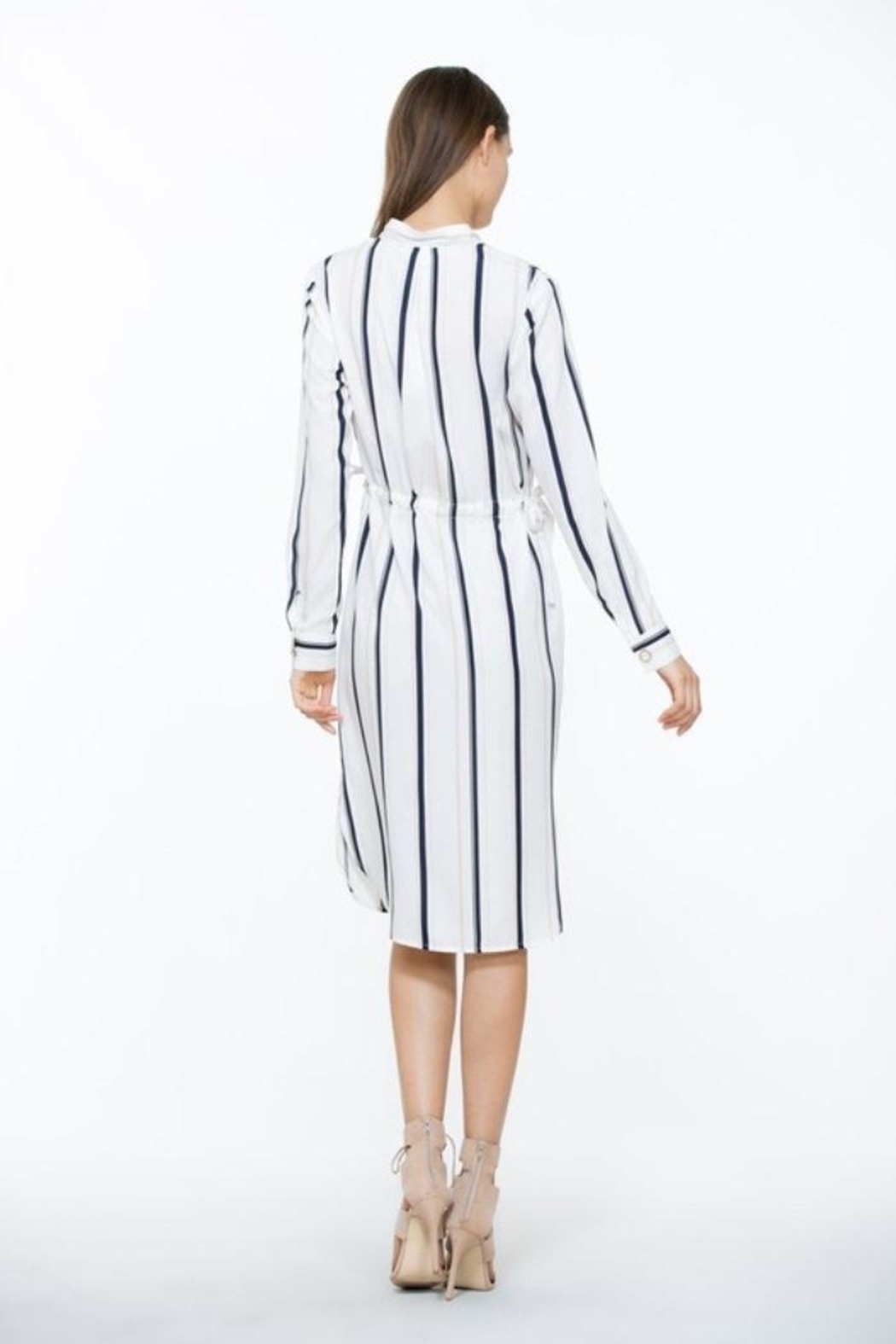 The Room Ivory Stripe Dress - Back Cropped Image