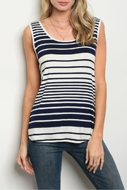 Shop The Trends  Ivory Stripes Top - Front cropped