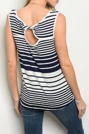 Shop The Trends  Ivory Stripes Top - Front full body