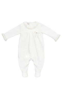 Paz Rodriguez Ivory Velour Sleepsuit. - Alternate List Image