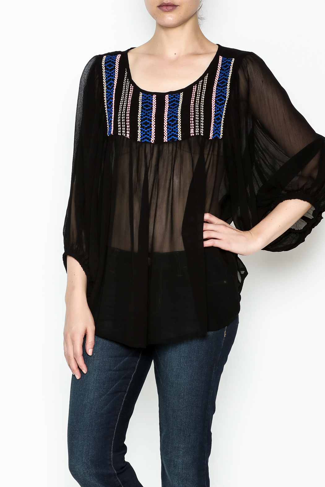 Ivy Jane Black Peasant Top - Main Image
