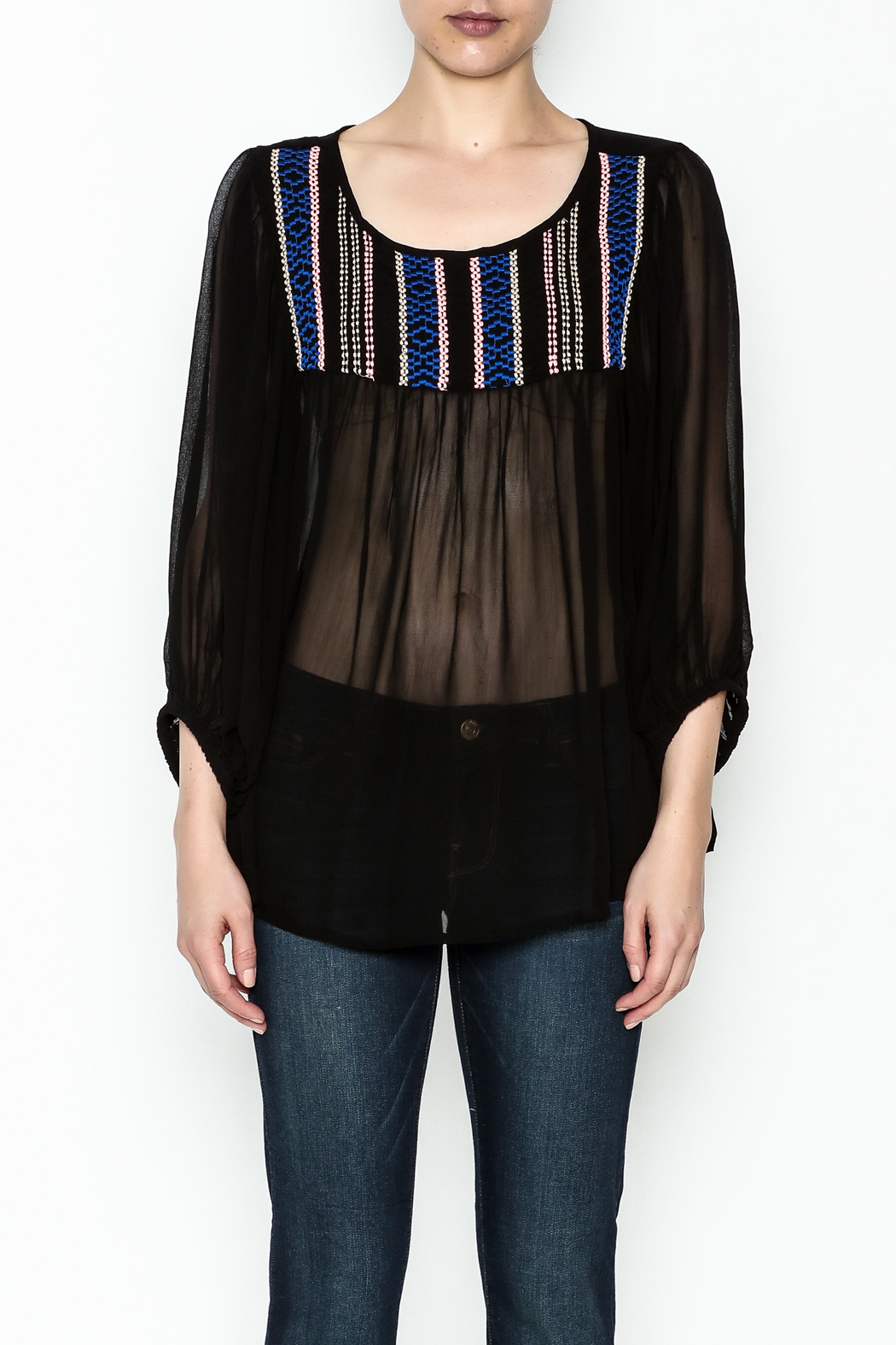 Ivy Jane Black Peasant Top - Front Full Image