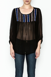 Ivy Jane Black Peasant Top - Front full body