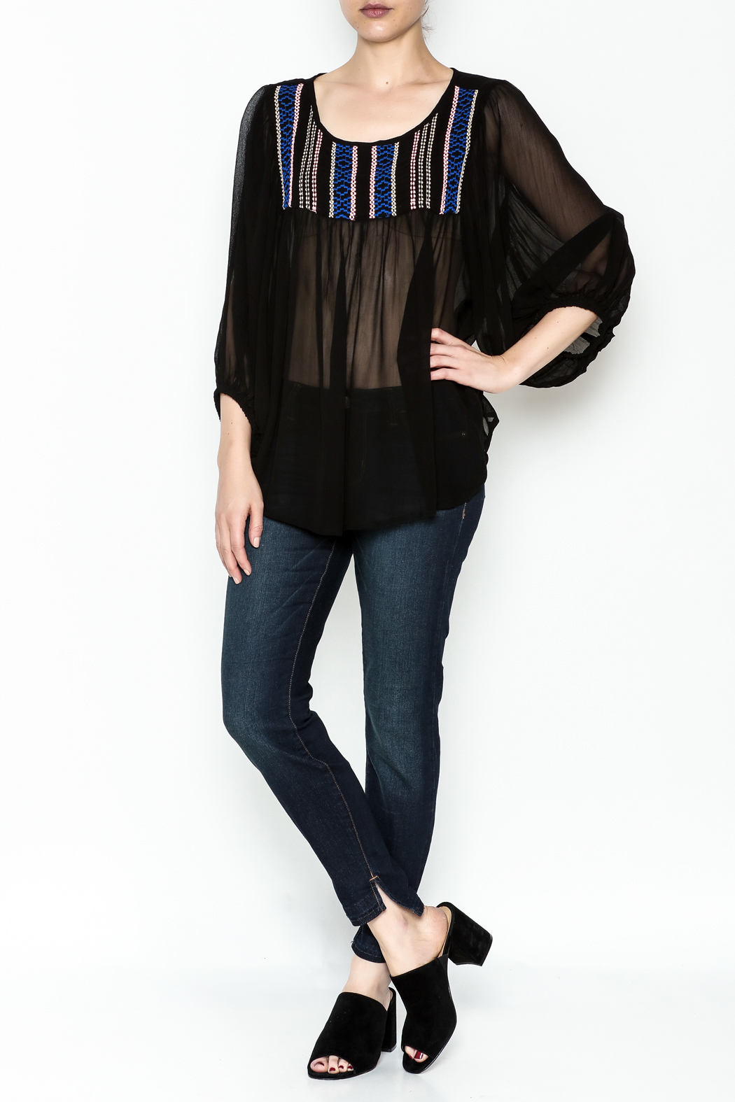Ivy Jane Black Peasant Top - Side Cropped Image