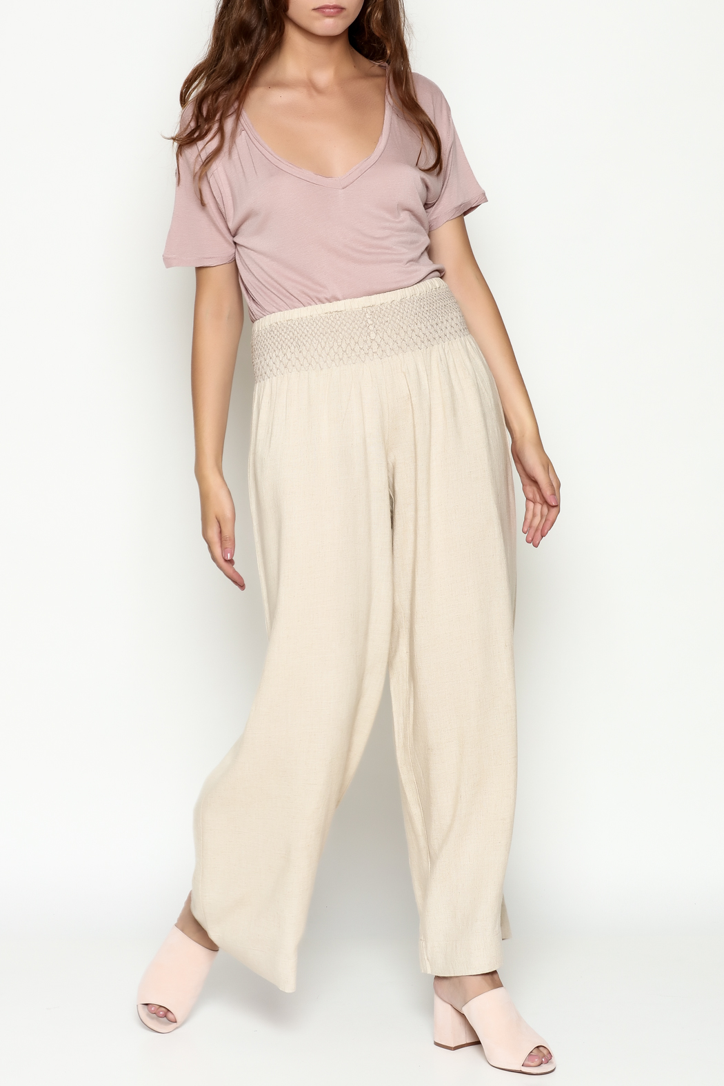 Ivy Jane Khaki Linen Pants - Side Cropped Image