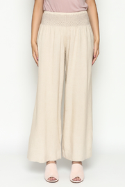 Ivy Jane Khaki Linen Pants - Front full body
