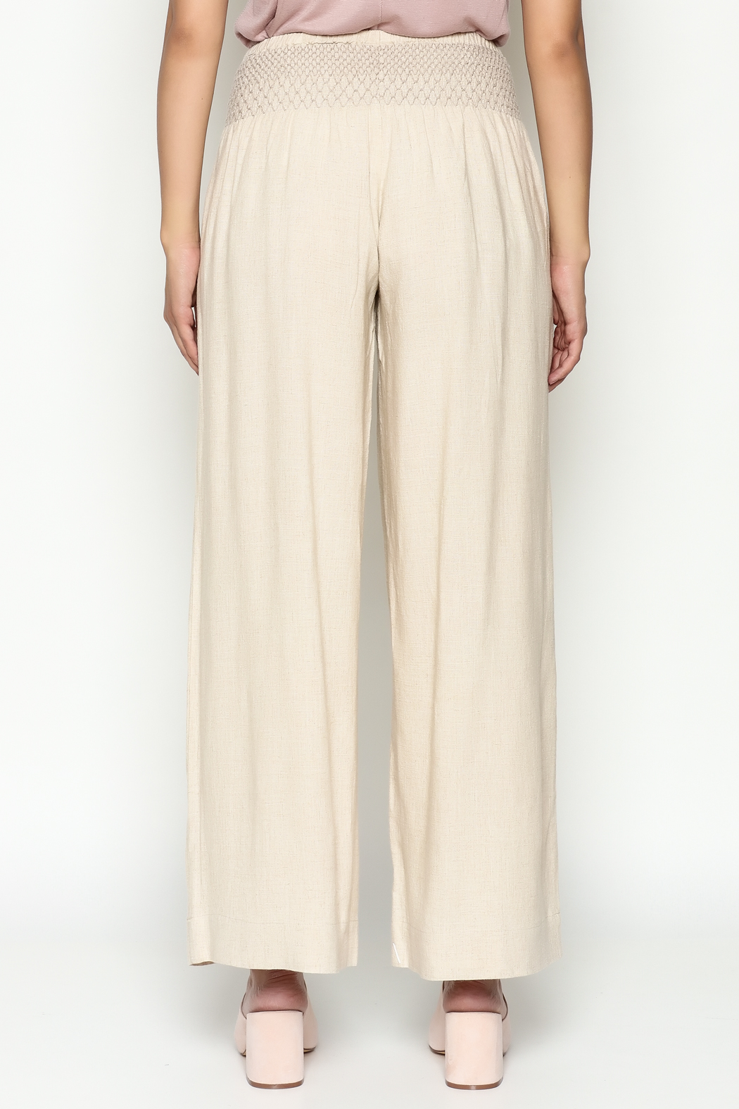 Ivy Jane Khaki Linen Pants - Back Cropped Image