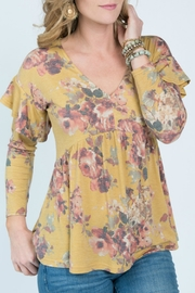 Ivy Jane Mustard Yellow Floral Top - Product Mini Image