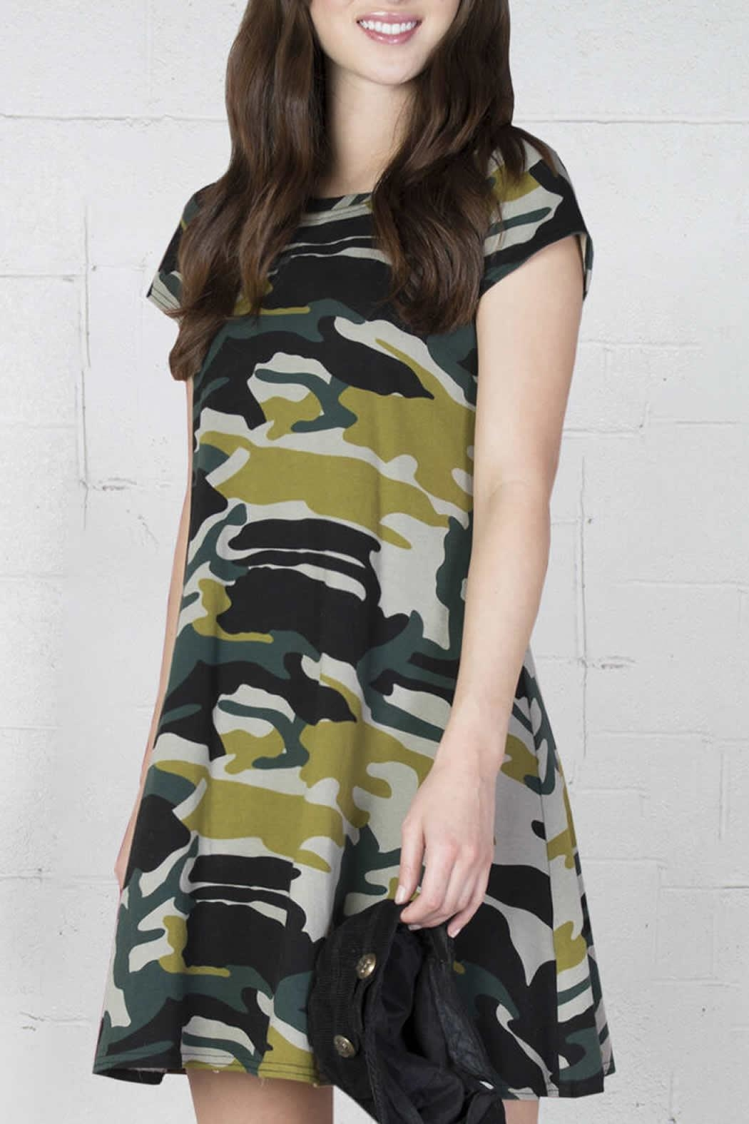 Ivy Jane Camo Swing Dress - Front Cropped Image