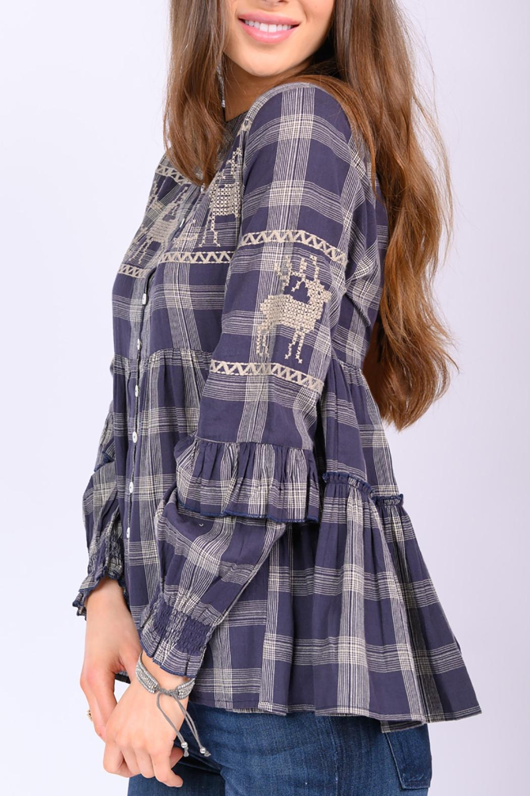 Ivy Jane Deer In Motion Plaid Top - Front Full Image