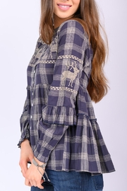 Ivy Jane Deer In Motion Plaid Top - Front full body