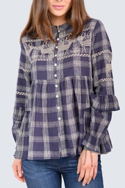 Ivy Jane Deer In Motion Plaid Top - Front cropped