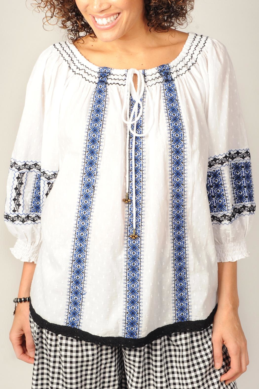 Ivy Jane Embroidered Peasant Top - Main Image