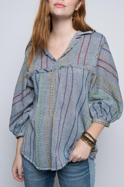 Ivy Jane Stripe Swing Fringy Top - Front cropped