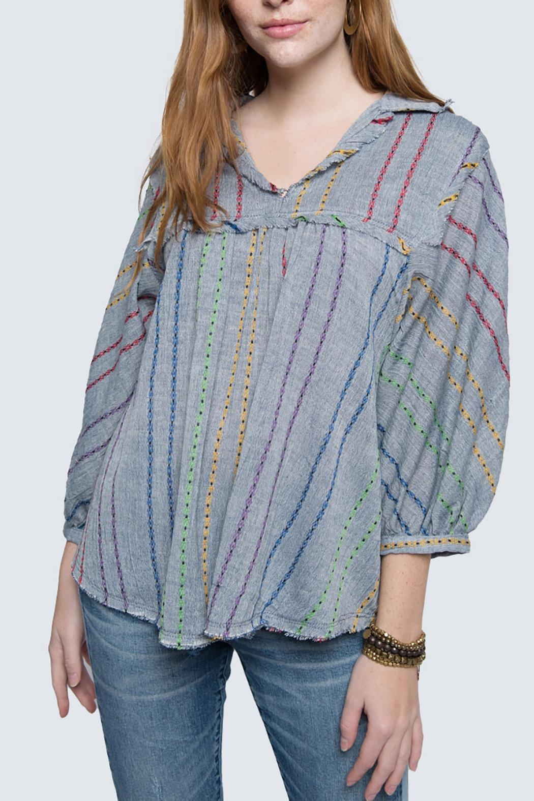 Ivy Jane Stripe Swing Fringy Top - Front Full Image