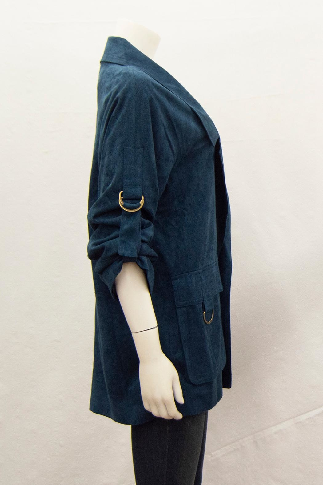 Ivy Jane Suede Notched-Lapel Coat - Back Cropped Image