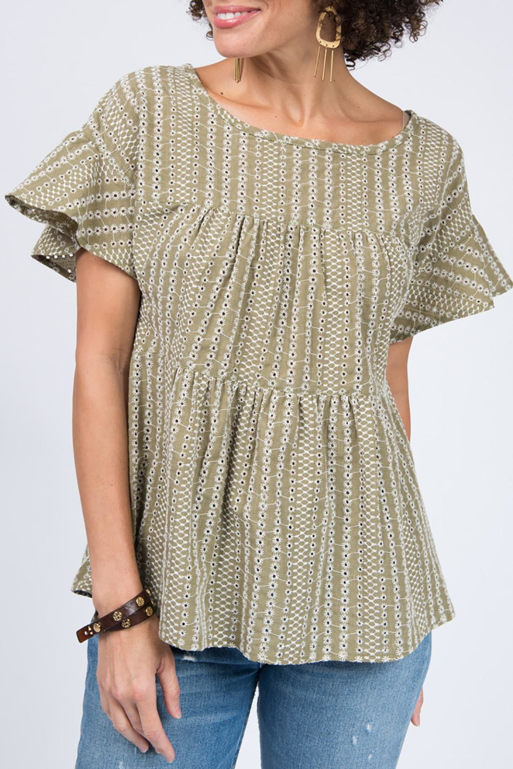 Ivy Jane Tiered Eyelet Top - Front Full Image