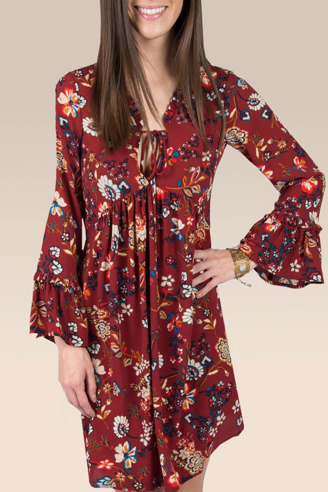 Ivy Jane / Uncle Frank  Floral Ruffle Sleeve Dress - Main Image