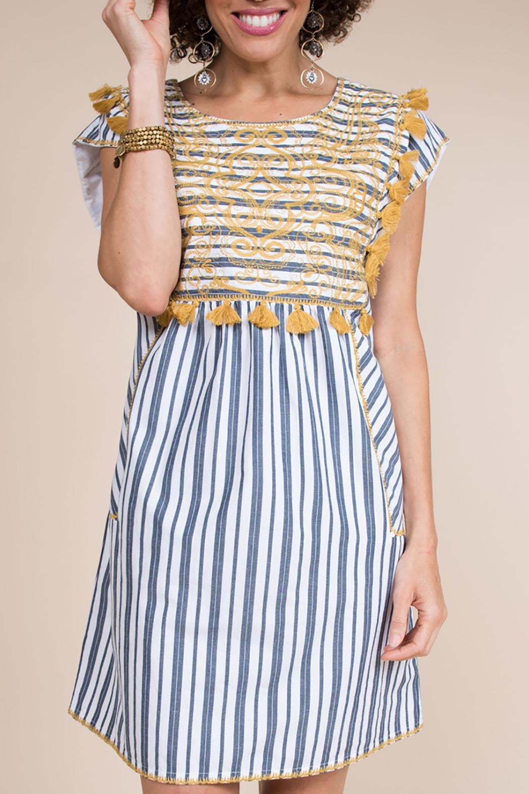 Ivy Jane / Uncle Frank  Striped Embroidery Dress - Main Image