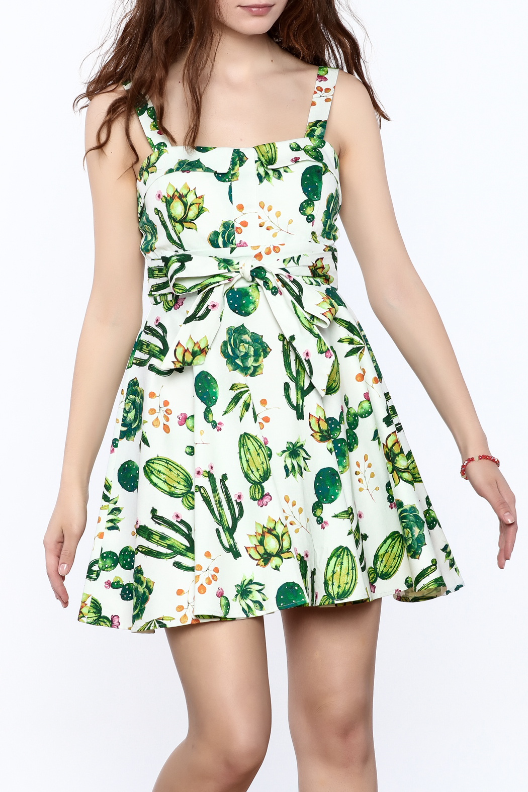 Ixia Fun Cactus Print Dress - Front Cropped Image