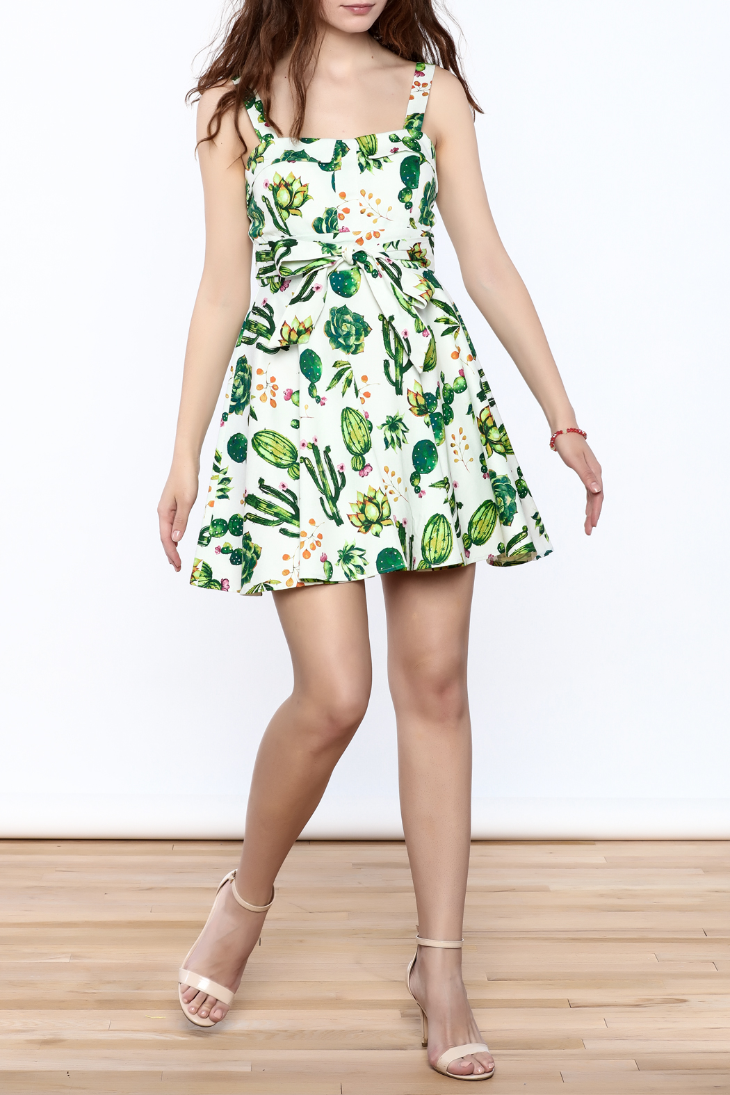 Ixia Fun Cactus Print Dress - Front Full Image