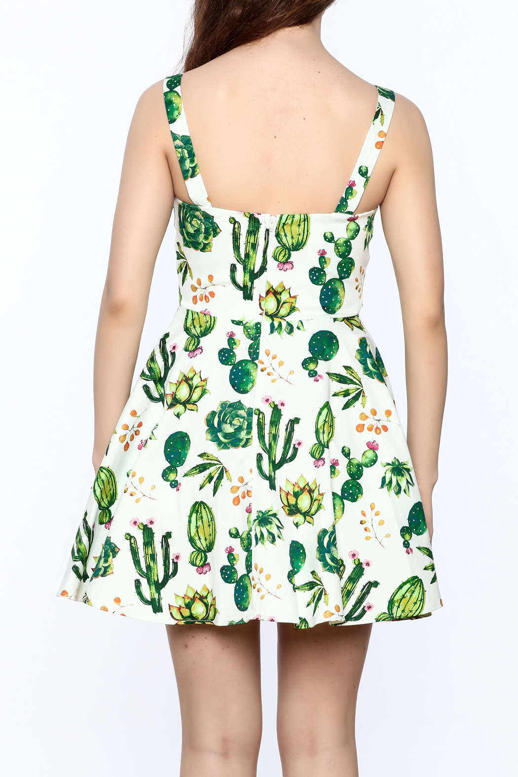 Ixia Fun Cactus Print Dress - Back Cropped Image