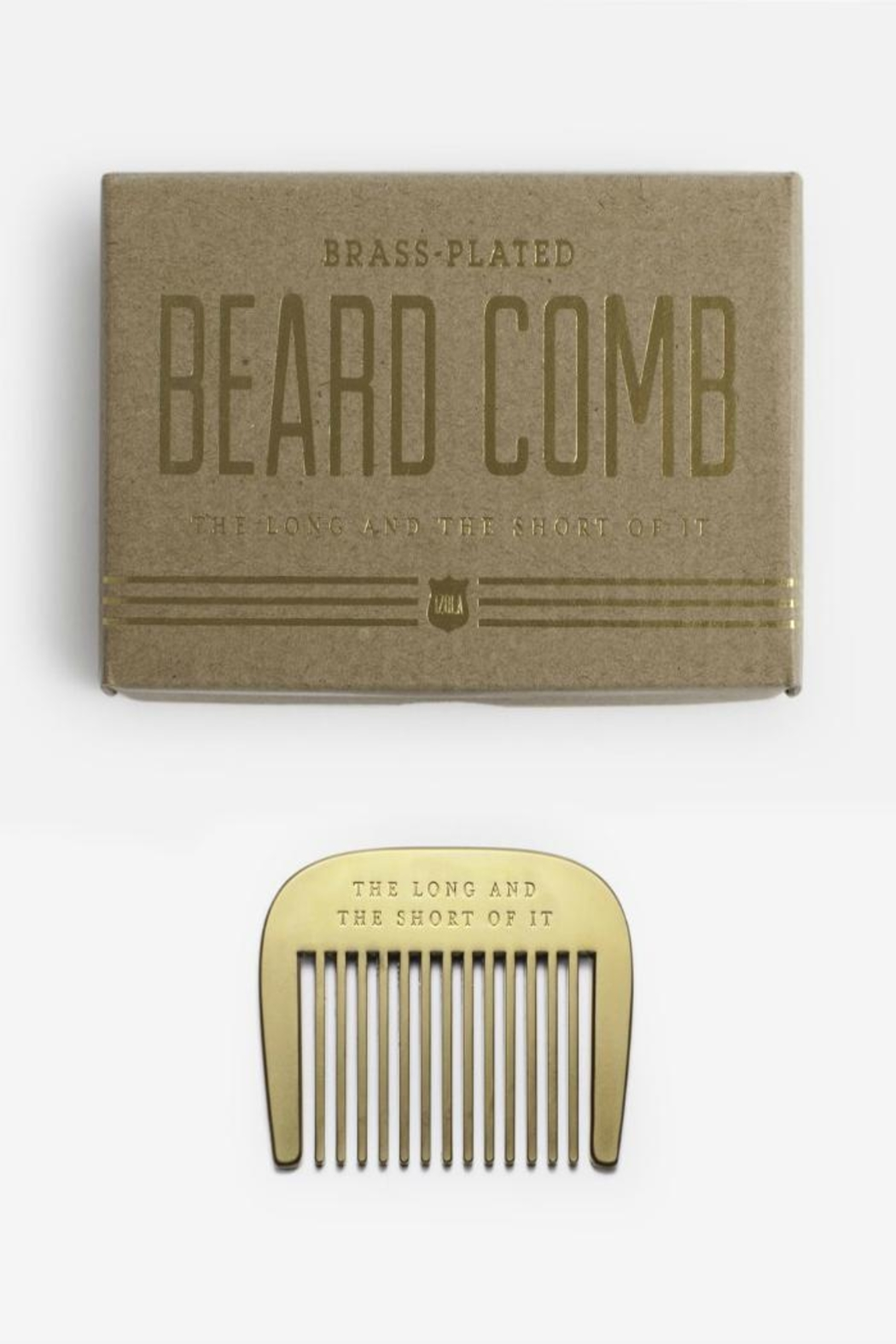 Izola Brass Beard Comb - Front Cropped Image