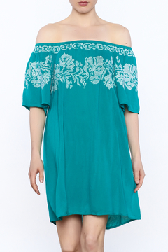 Shoptiques Product: Teal Embroidered Shift Dress