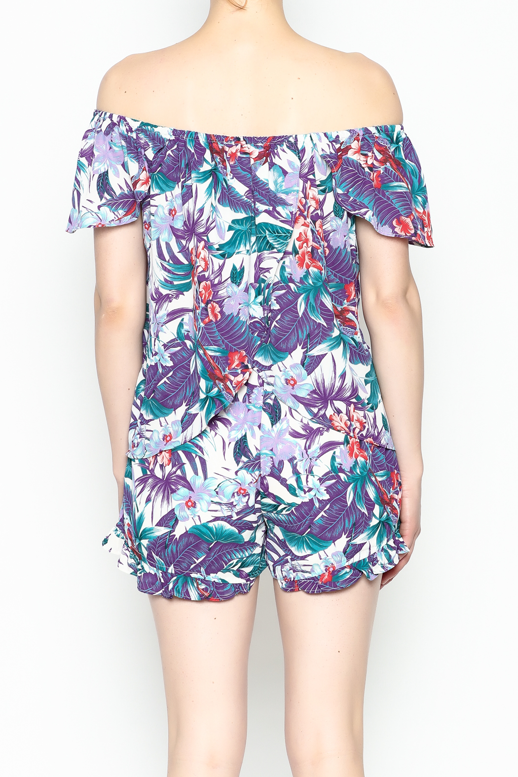 Izzy & Lola Tropical Long Beach Top - Back Cropped Image