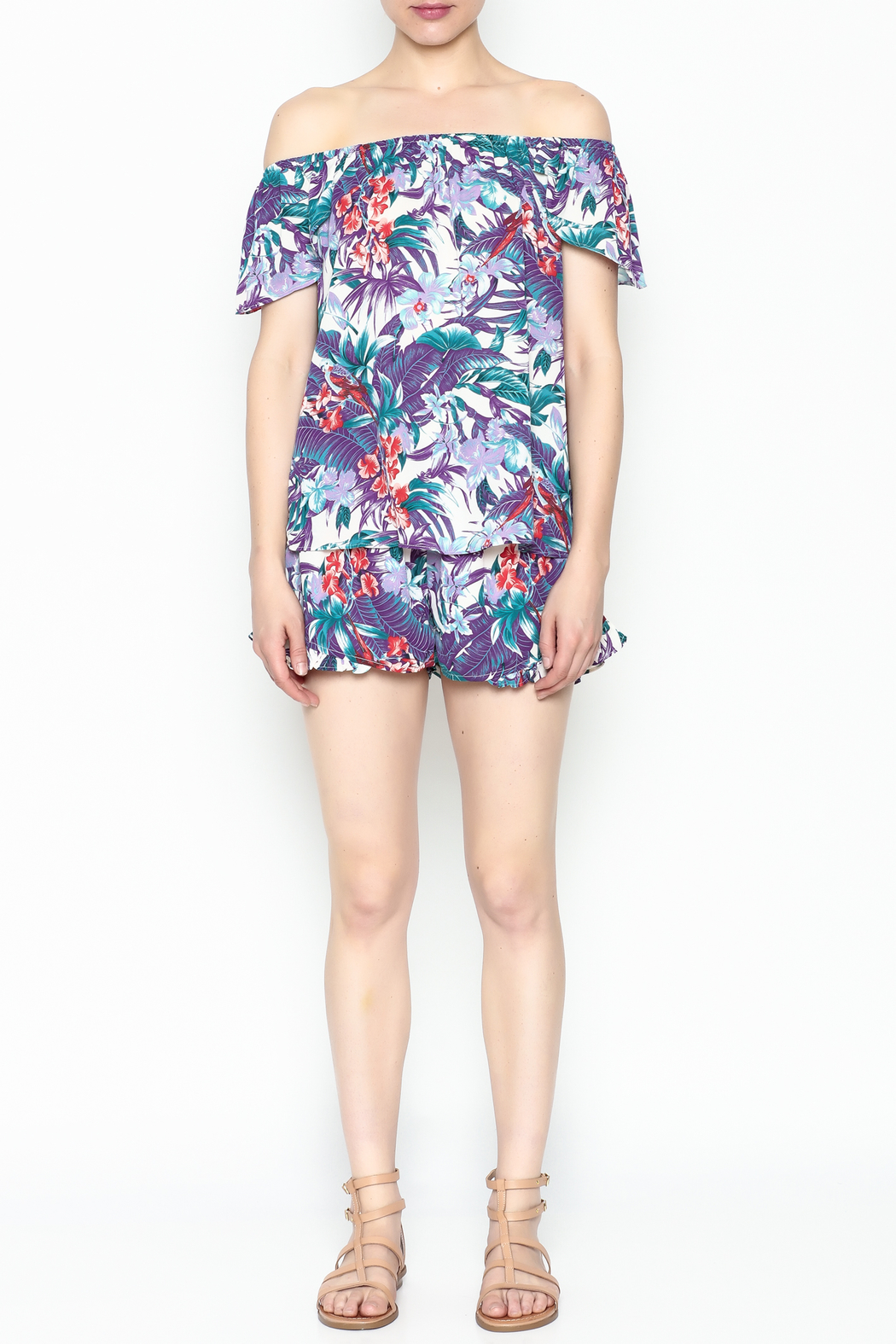 Izzy & Lola Tropical Long Beach Top - Front Full Image