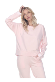 PJHARLOW IZZY FRENCH TERRY SWEATSHIRT WITH SATIN CUFFS - Product Mini Image