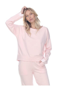 PJHARLOW IZZY FRENCH TERRY SWEATSHIRT WITH SATIN CUFFS - Product List Image