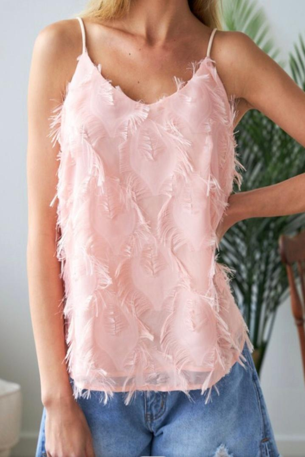 J.NNA Pink Feathered Camisole - Main Image