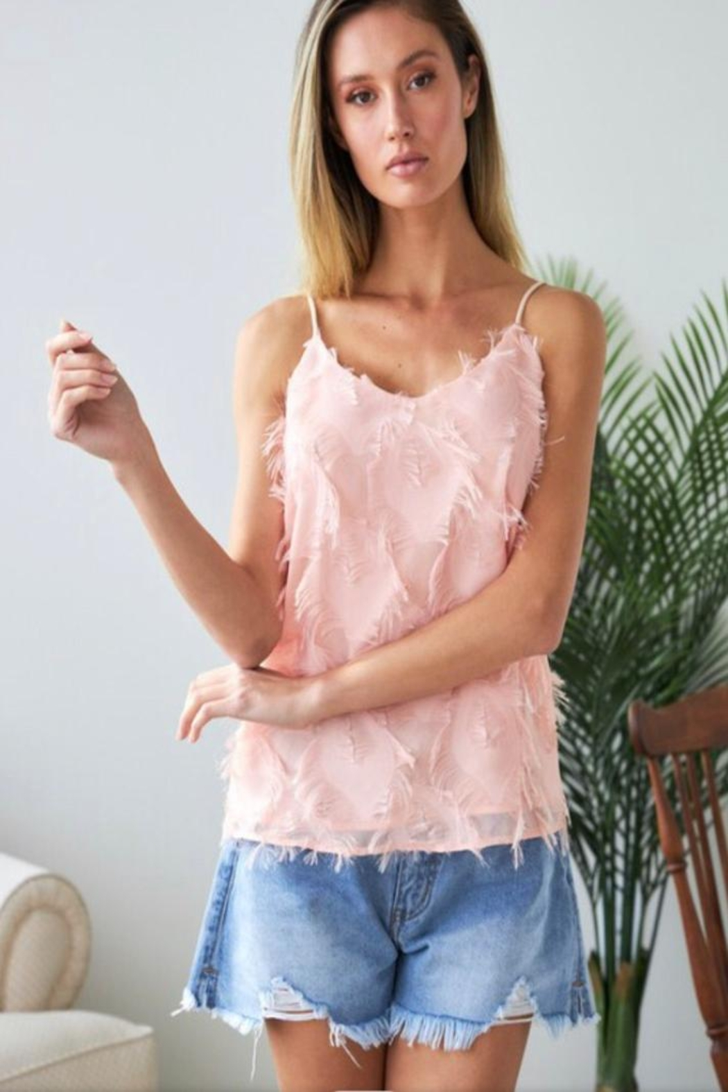 J.NNA Pink Feathered Camisole - Front Full Image