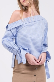 J.O.A. Checked One Shoulder Top - Product Mini Image